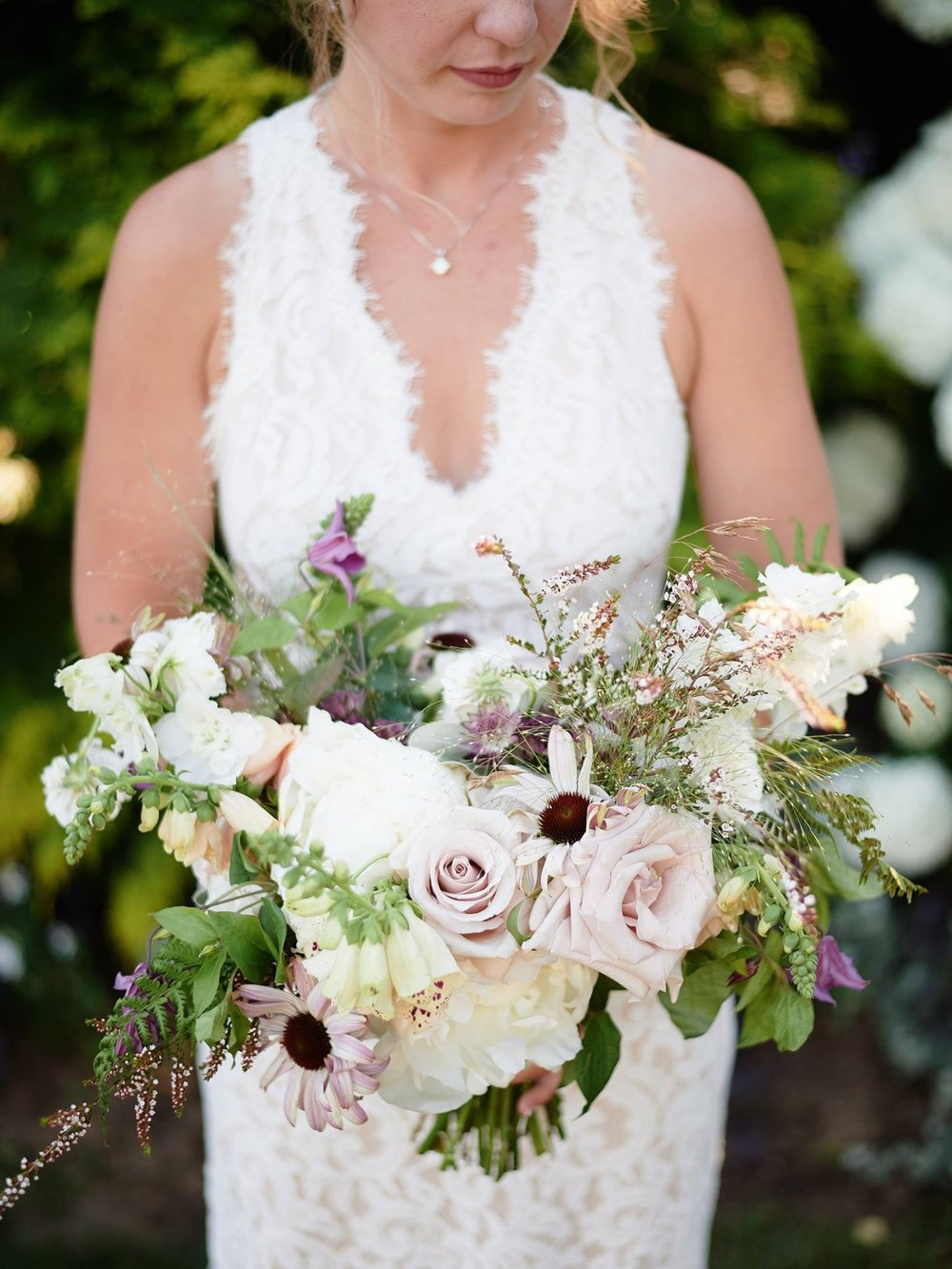 Organic bridal bouquet with greens, blush and lavender colors - Pearl Weddings & Events
