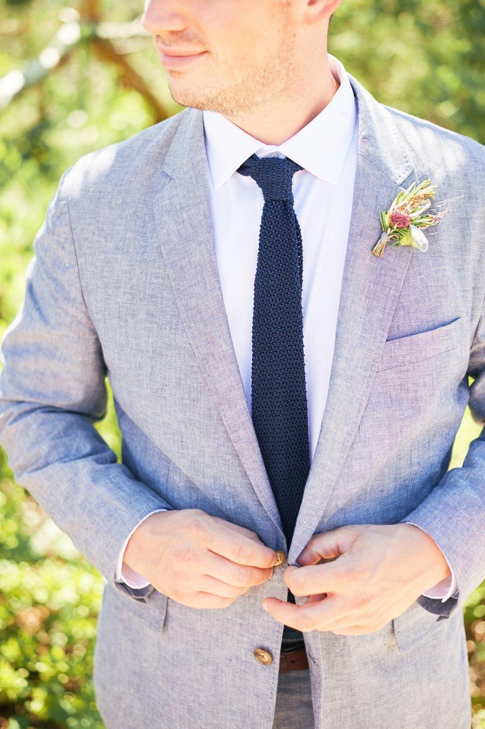 Grooms grey blue summer suit - Pearl Weddings & Events