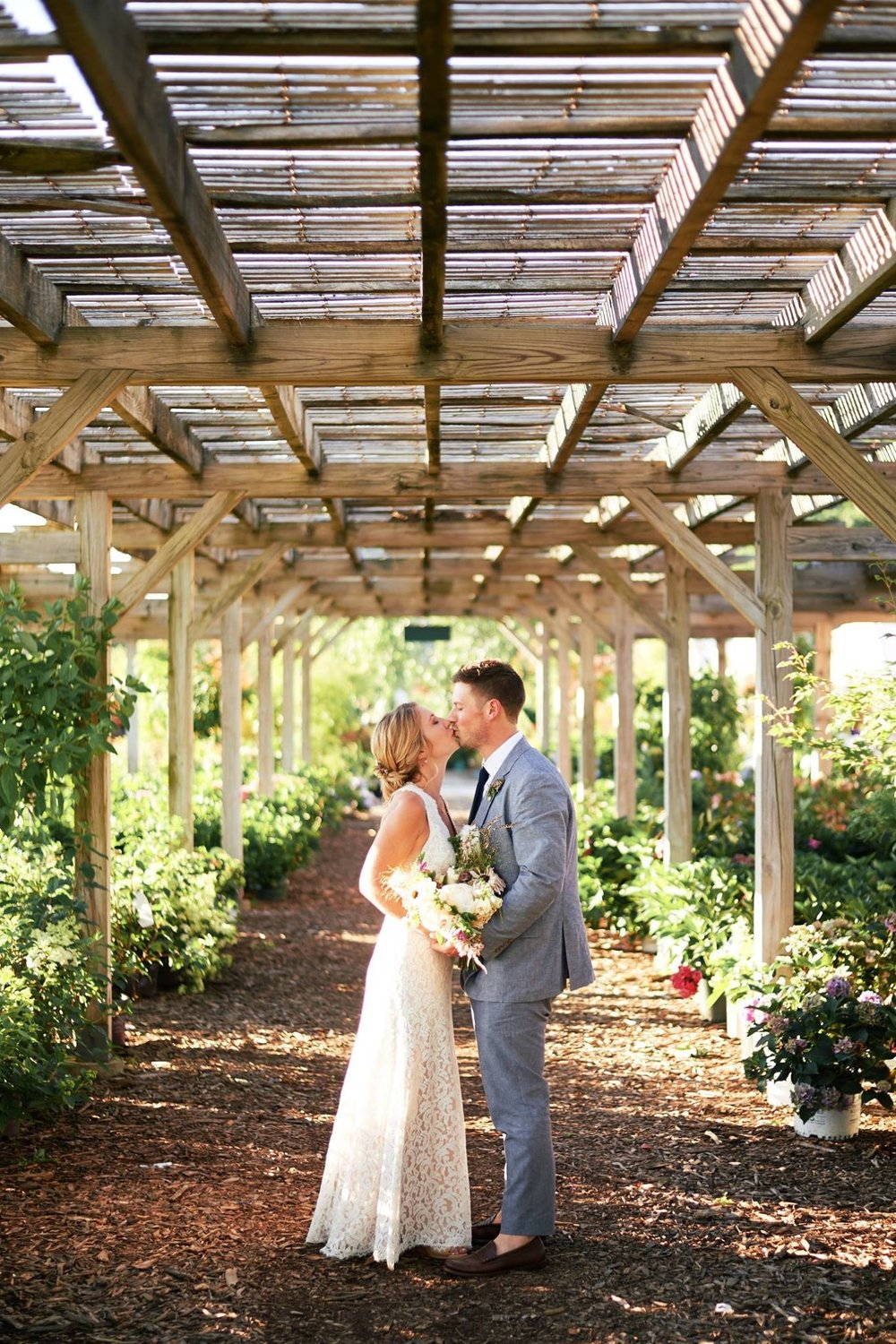 Couples portraits in the garden at The Farmers Daughter - Pearl Weddings & Events