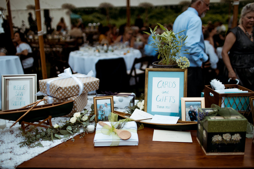 Outdoor tented wedding by the water, boat themed gift and cards table - Pearl Weddings & Events