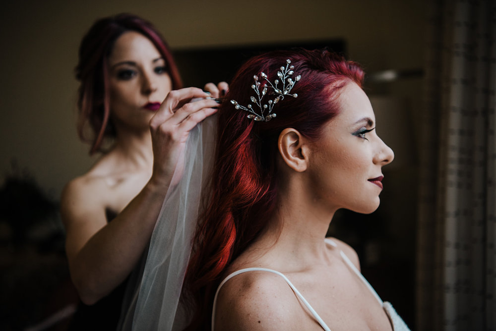 Bride with red hair, beautiful veil and small hair piece - Hair and make up done by The Gallery Salon - Pearl Weddings & Events