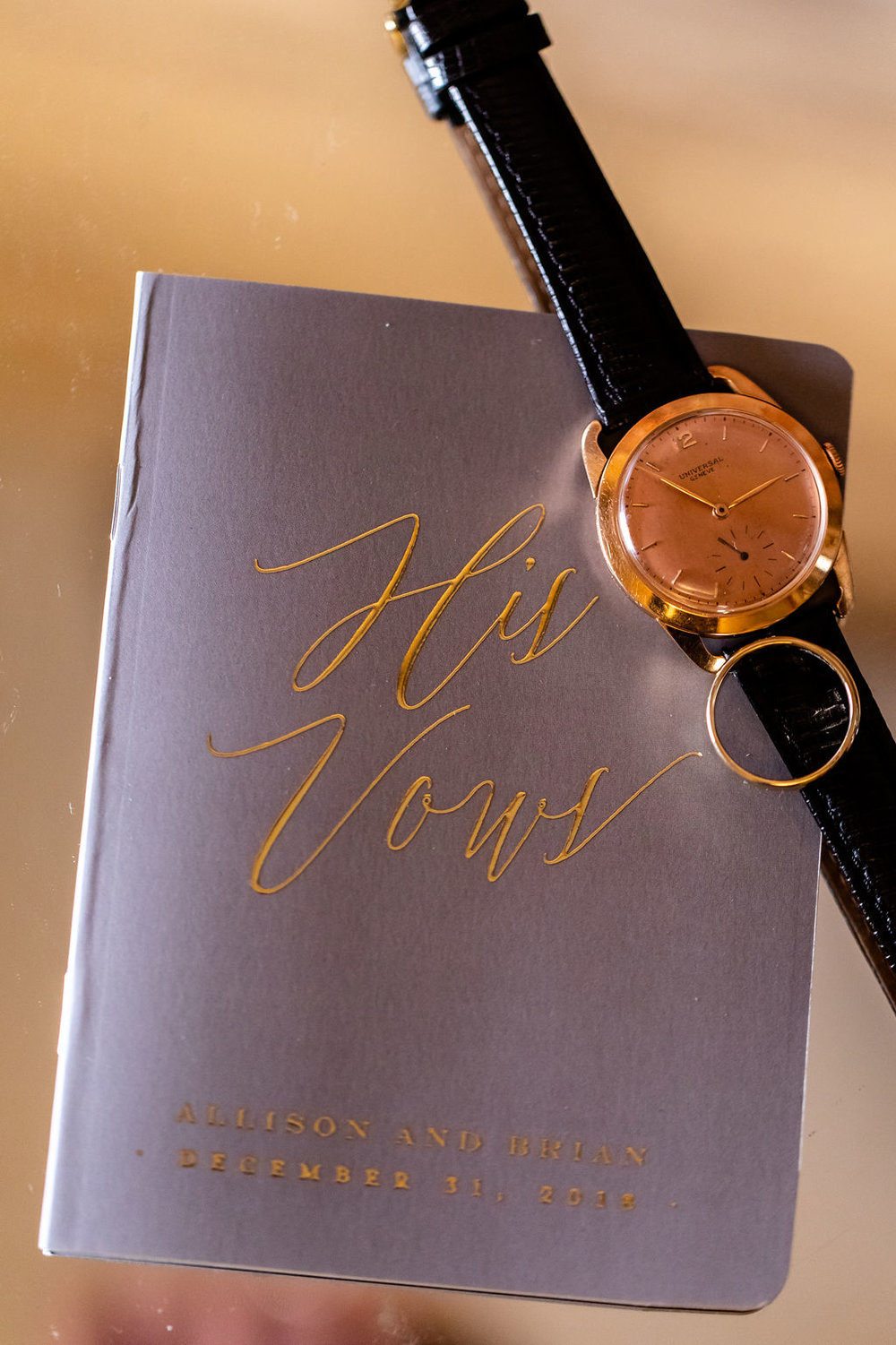 His vow booklet with rings and watch - Pearl Weddings & Events