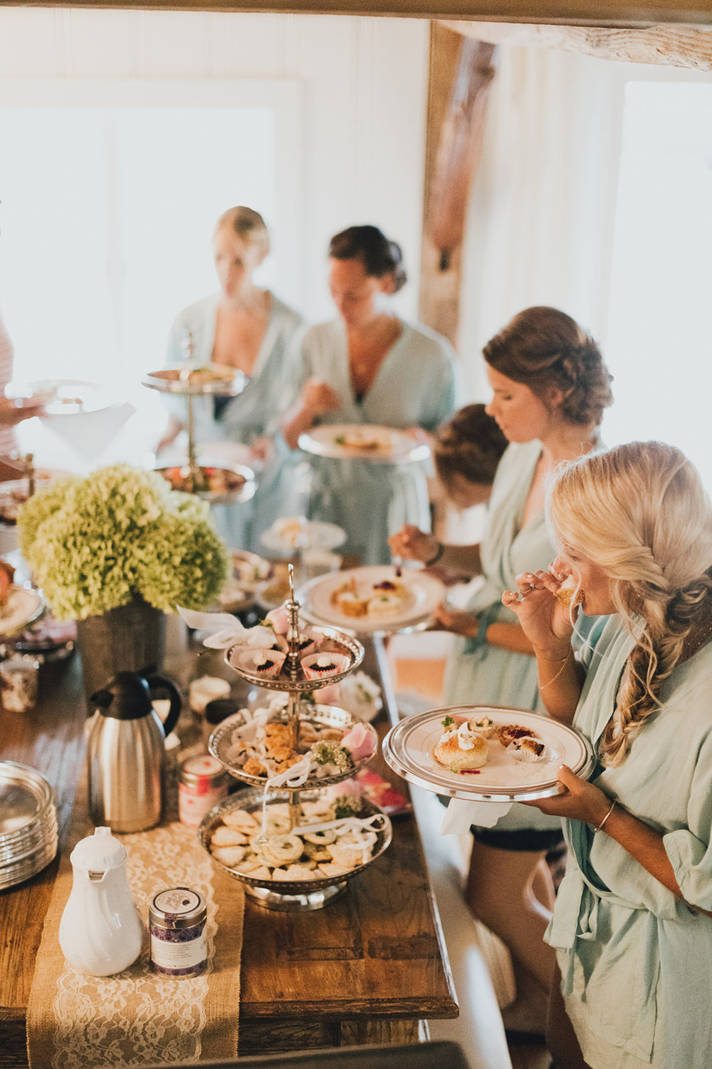 bridesmaids getting ready house for Sommar's Wedding day included tea and snacks served - Pearl Weddings & Events