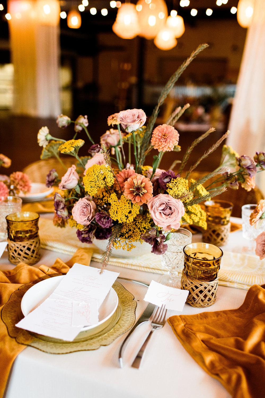 BBJ linen, velvet turmeric napkins and boho style blended with modern - Pearl Weddings & Events