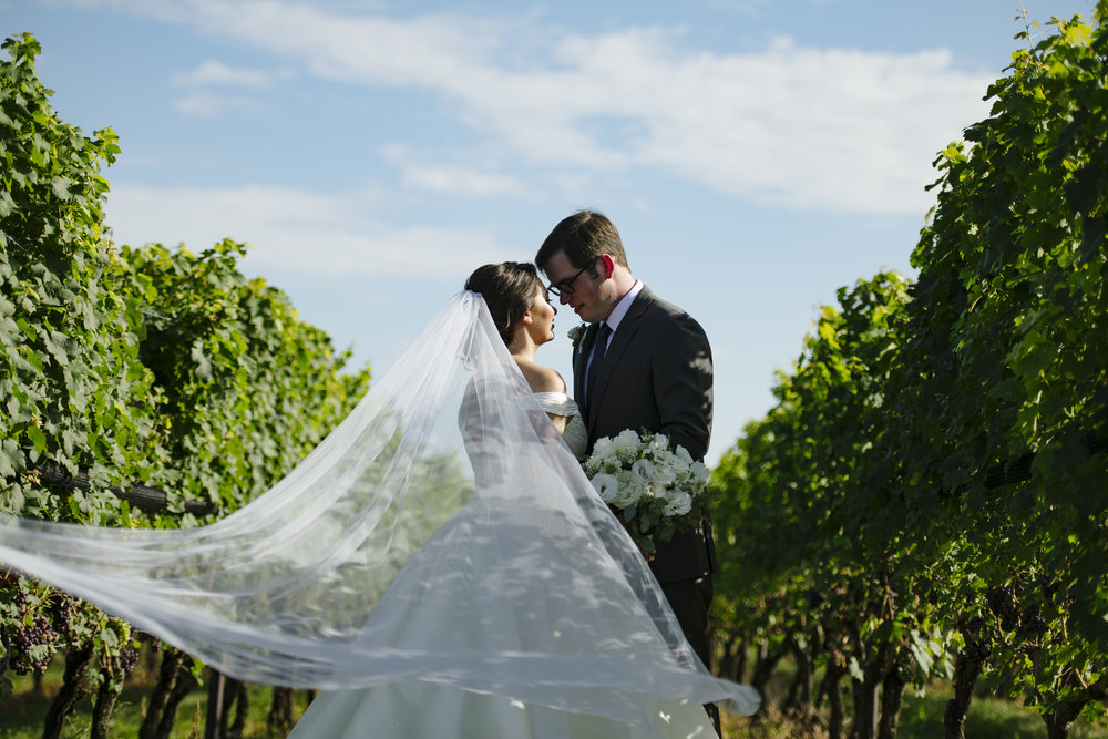 Bride and groom first look in the vineyard at Jonathan Edwards Winery in Connecticut. Beautiful floating veil photo. - Pearl Weddings & Events