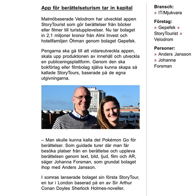 Some great news (in Swedish) about our new investors Almi Invest and Gepefek - welcome to the #storytourist family!