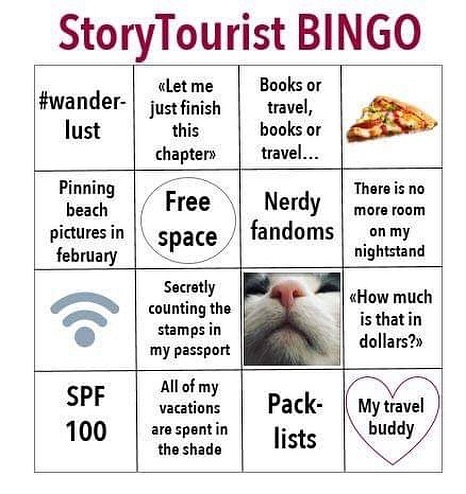 Score four in a row = you're a StoryTourist soulmate. ❤️🎉 . . . #storytourist #storytour #stepintothestory #traveling #travel #travelholic #wanderlust #nerd #fandom #literature #literaturelover #bookstagram #book #booknerd #lovebooks #books #bingo #bingocard