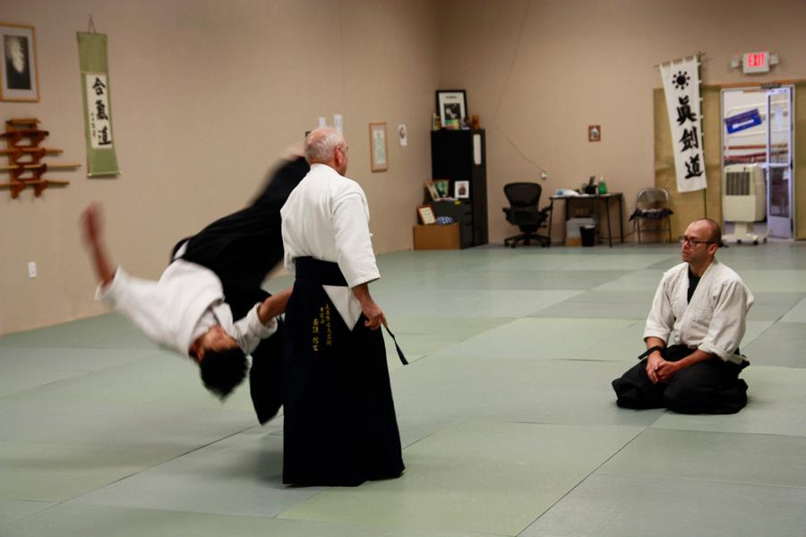 Goldberg Sensei demonstrating with uke Hung Le, Grand Rapids Study Group leader.