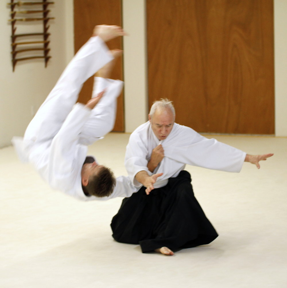 Goldberg Sensei demonstrating kaiten nage at Bushidokai Dojo in East Lyme, CT.