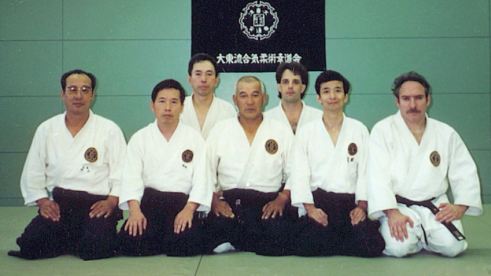 Roy Golberg Sensei, first from the right, training with Kiyama sensei (center) at the Hombu Dojo in Kitami, Japan.