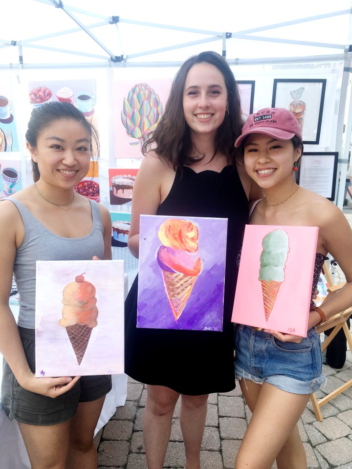 three friends with ice cream paintings.JPG