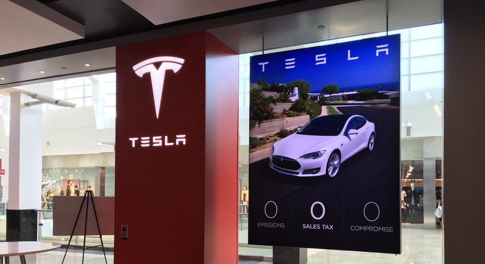 Tesla Motors lobby graphics
