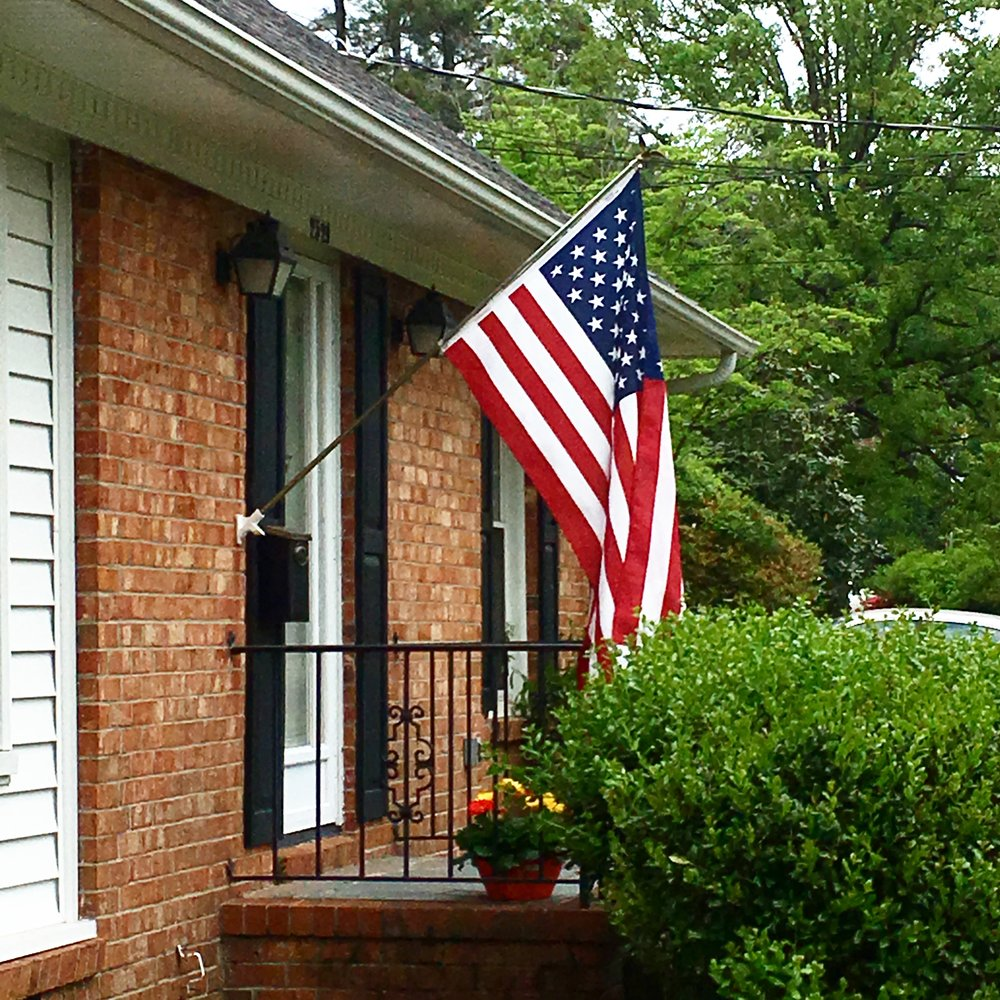 "1027 || Heading out to run errands before my next class. It makes me so happy to see this flag flying from the house again.  On my #100daysofeverydaylifephotos project I added: ""Maybe it's because my brother was a Marine. And my uncles are all prior service, my father too. Maybe it's because I am not a retired veteran and my husband is active duty, most of my friends are serving or have served. I've lost of my best friends from high school while he served under this flag and his mother was handed one in place of her son coming home alive. Maybe it's because of the time I was raised in, when we respected that flag, held our hands over our hearts, and flew that flag with pride. That is still how I feel to this day. I was alive for 9/11, my brother served during then.... that flag is still a symbol of this country and I have pride in it. That's why it hangs on my house."""