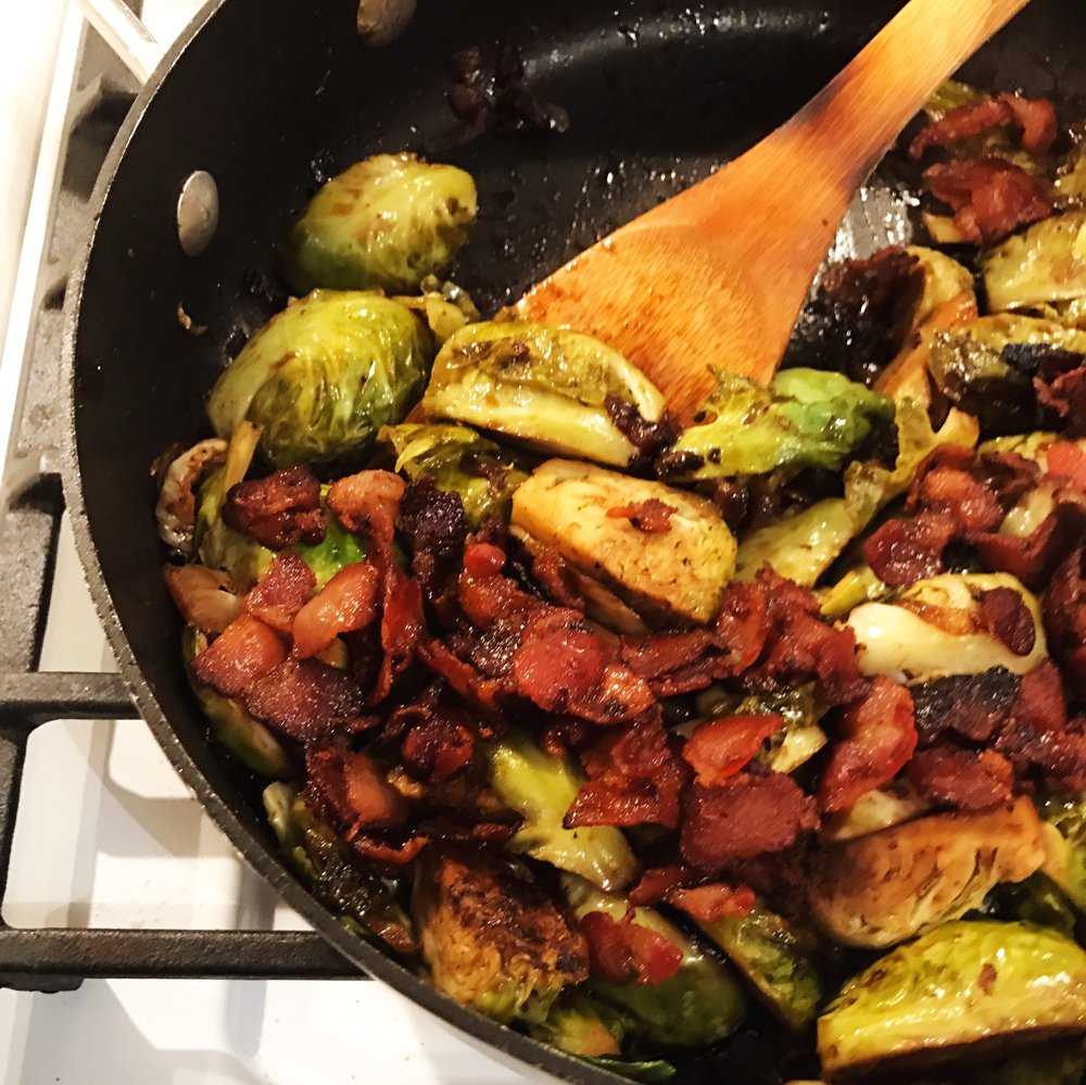 Pan Roasted Brussels Sprouts with Bacon and Shallots