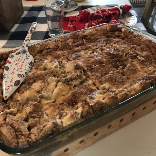 French Toast Casserole and Peachy Bacon-Wrapped Sausages