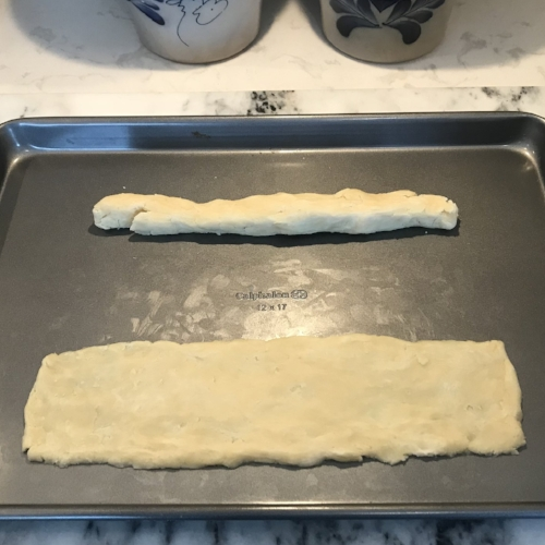 Pat the dough into rectangles.