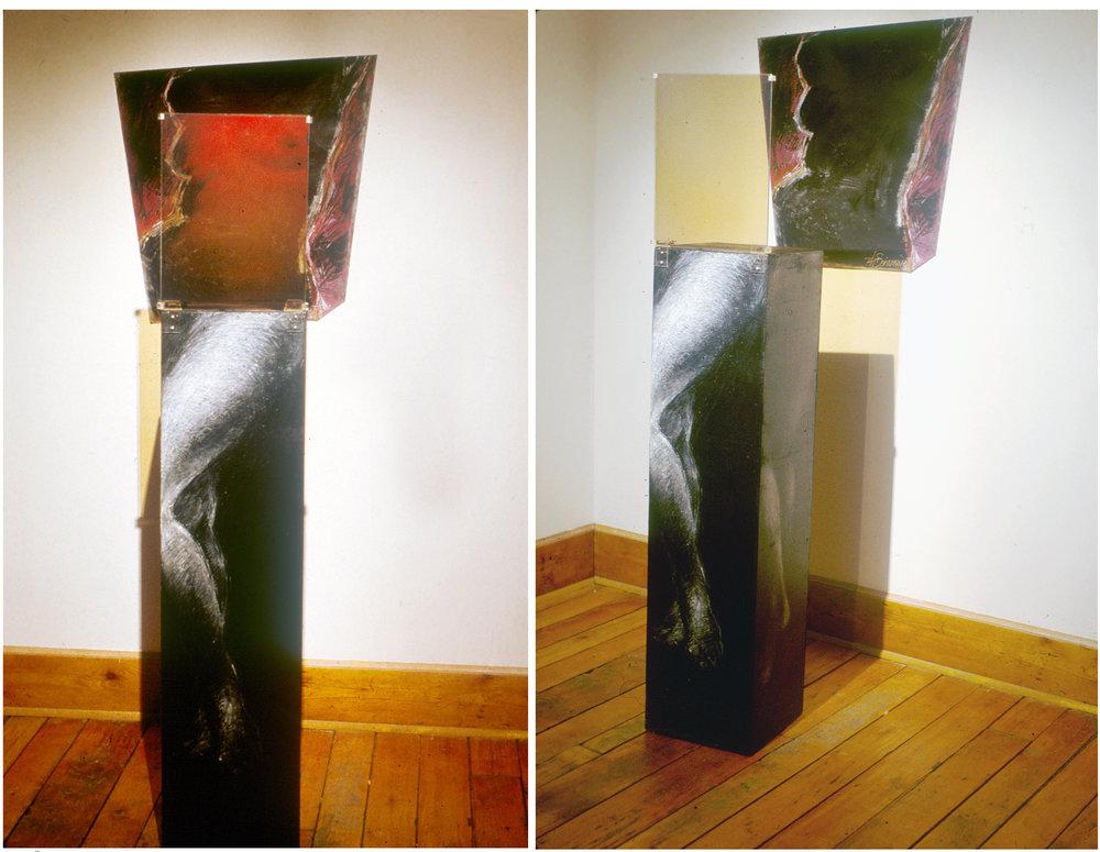 «À l'ombre des grands modèles I», 1987 Hologramme en réflexion (WLR) sur verre et acrylique/pastels sur bois et toile 45 x 170 x 60 cm (hologramme: 30 x 40 cm)