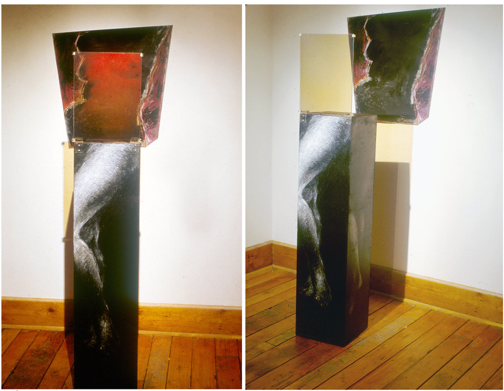 """À l'ombre des grands modèles I"", 1987 Reflection hologram (WLR) on glass and acrylic/pastels on wood and canvas 45 x 170 x 60 cm (hologram: 30 x 40 cm) Exhibition at the Centre d'art L'Imagier, Aylmer,Qc, 1988                      Normal   0           false   false   false     FR   JA   X-NONE                                                                                                                                                                                                                                                                                                                                                                              /* Style Definitions */ table.MsoNormalTable {mso-style-name:""Table Normal""; mso-tstyle-rowband-size:0; mso-tstyle-colband-size:0; mso-style-noshow:yes; mso-style-priority:99; mso-style-parent:""""; mso-padding-alt:0cm 5.4pt 0cm 5.4pt; mso-para-margin:0cm; mso-para-margin-bottom:.0001pt; mso-pagination:widow-orphan; font-size:12.0pt; font-family:Cambria; mso-ascii-font-family:Cambria; mso-ascii-theme-font:minor-latin; mso-hansi-font-family:Cambria; mso-hansi-theme-font:minor-latin; mso-ansi-language:FR;}"