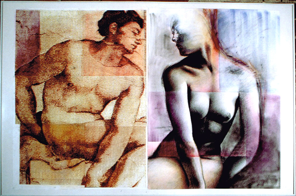 «Sans commentaires», 1996 Collage de photocopies, fusain et pastels, 80 x 120 cm. Collection privée