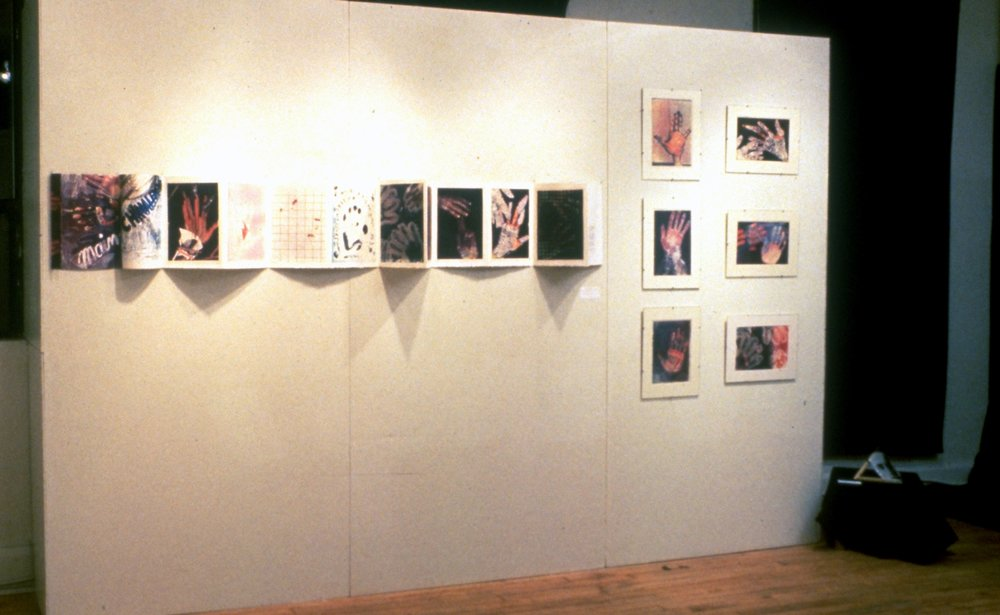 """Main-chinalement», 1984 (unfolded book) Exhibition at the Gallery 44, Toronto, On. 1985"