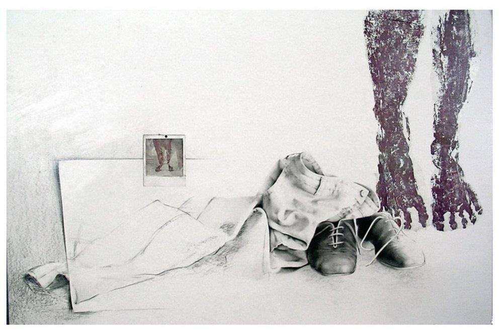 «Traces», 1982 110 x 70 cm Collection de la  Fondation de l'Université du Québec à Trois-Rivières , Trois-Rivières, Qc
