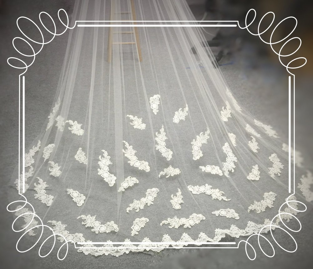Space your appliques throughout the veil for a very trendy look that is sure to compliment any dress.