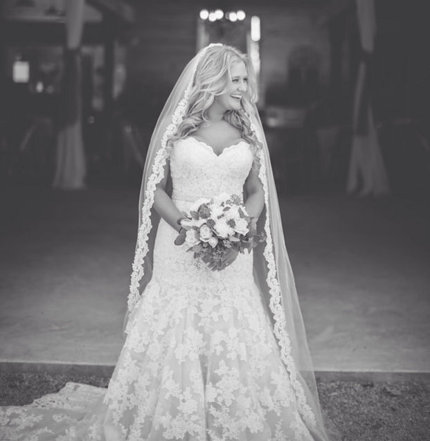 Single Tier Beaded Lace Veil - $57