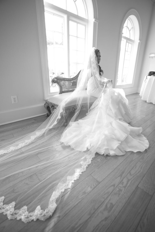 Beaded Lace Veil - $63