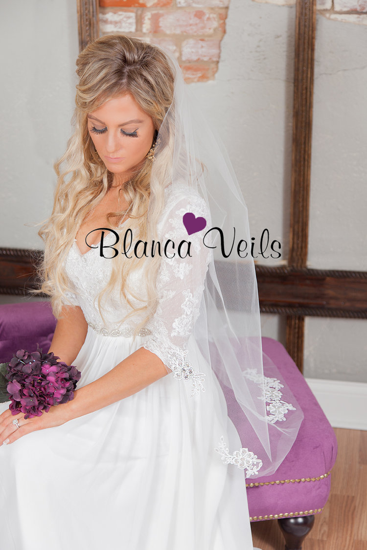 Sequin Applique Veil-$63