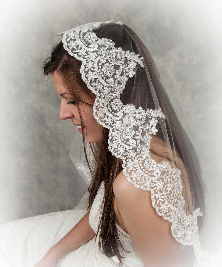 Mantilla Lace Veil-$78