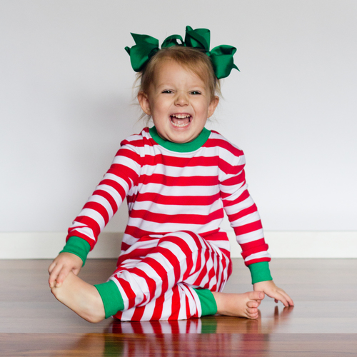 Red White   Green Striped Christmas Pajamas Blank 88e05fa53c8f