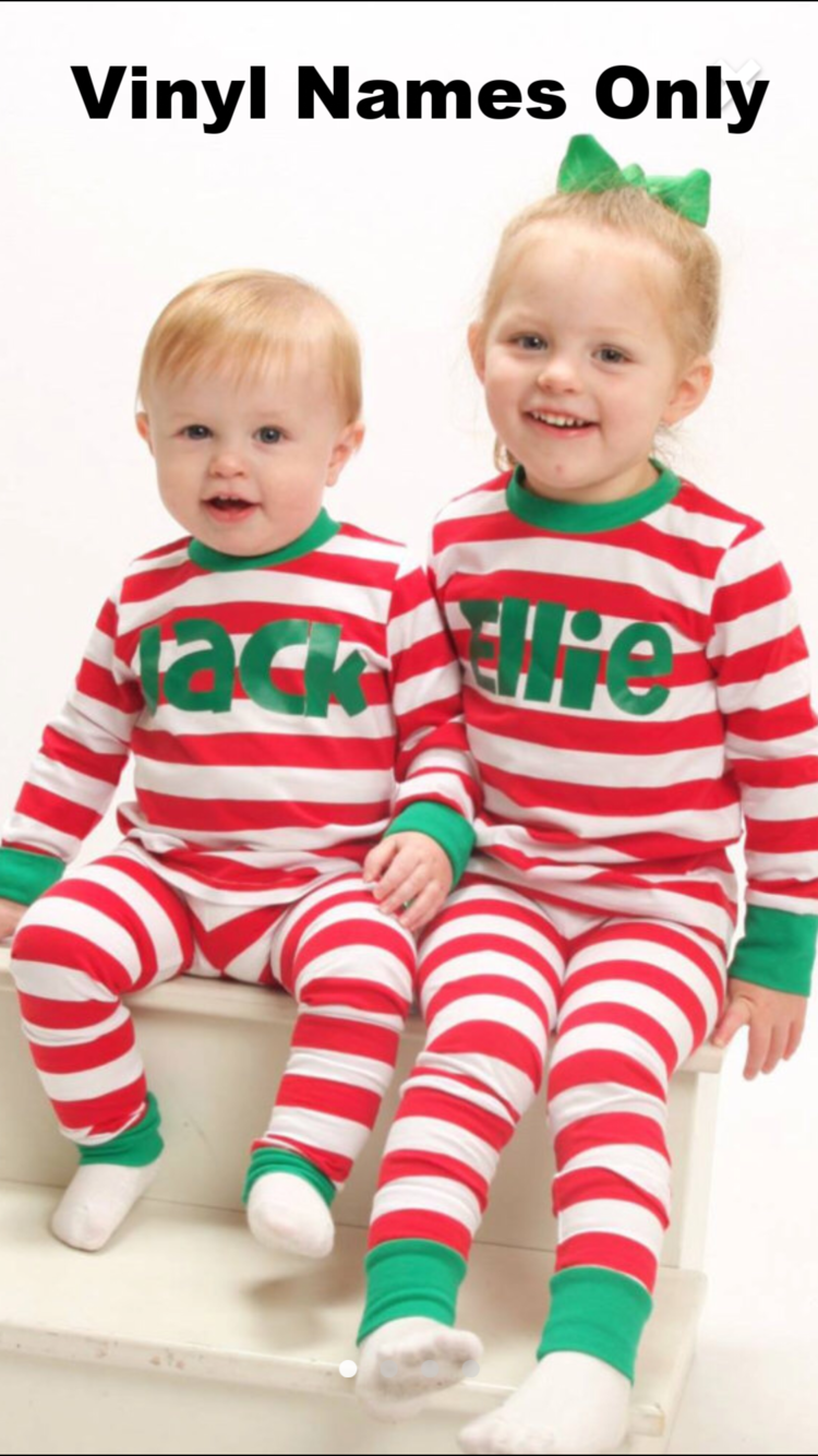 green white red striped christmas pajamas blank vinyl stitch name or appliquefree name