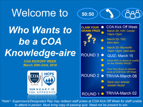 SAVE THE DATE-WHO WANTS TO BE A COA KNOWLEDGE-AIRE Kickoff event flyer