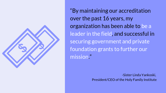 """By maintaining our accreditation over the past 16 years, my organization has been able to be a leader in the field, and successful in securing government and private foundation grants to further our mission."" -Sister Linda Yankoski, President/CEO of the Holy Family Institute"
