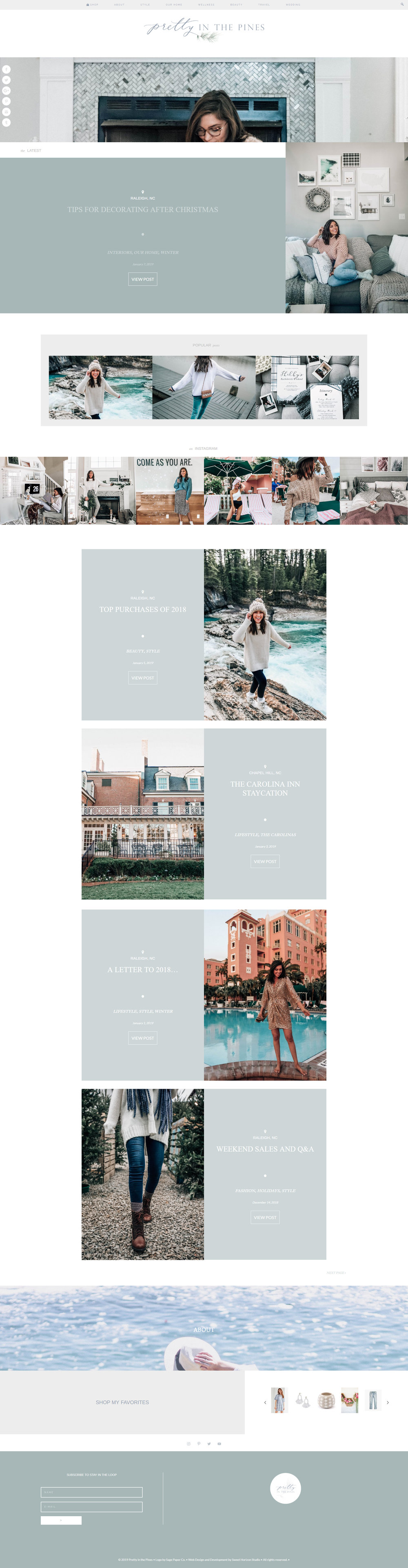 Catryn Painter | Pretty In The Pines Home Page Design | Sweet Horizon Studio | Creative Lady Directory