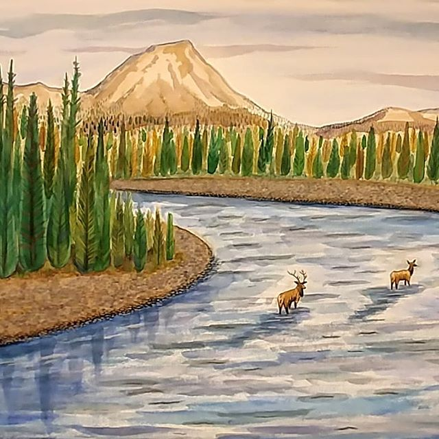 Last time i will draw or paint this scene 😊 three and a half feet wide by two and a half feet high. The last version wasn't really me. This is getting closer but... I'm done with this. Thanks again Pete! 🌲🌲🌲 #watercolourpainting #mountains #landscape #painting #illustration #watercolour #elk #outdoors #nature #art #wildlife #mountainriver #hiking #wildlifeart #inspiredbynature #naturelover