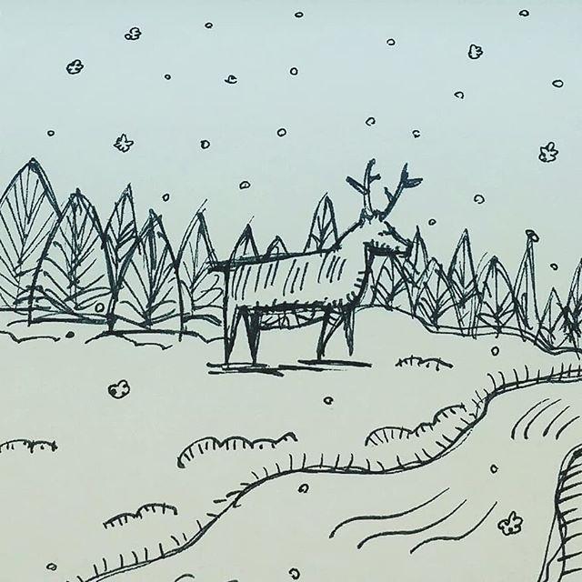 An old doodle because lately i haven't shared. 🌲💚🌲 #doodle #nature #illustrator #snow #illustration #deer #inspiredbynature #hiking #north #ontario #canada #doodlesofinstagram #notebook #drawing #sketchbook