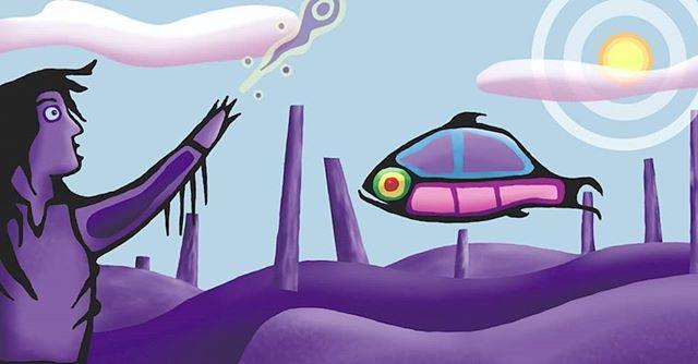 Older digital illustration... Maybe 2002? Cus i got nuthin new. #illustration #digitalillustration #fishing #inspiredbynature #firstnationartist #ojibwe #ojibway #mississaugasofscugogisland #anishnabe #woodlandschoolofart #totem #nature #dryspell #fishflytoo