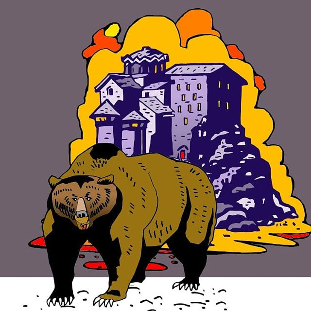 Something a little different for me but I'm a huge fan of Jack Kirby and Mike Mignola. I tried my hand at a Mignola castle and drew in my own background and bear. I'm pretty pleased with how it turned out. Thanks Mike. 🙏 #mikemignola #jackkirby #bear #illustration #inspiredbycomicbooks #graphic #comicbookart
