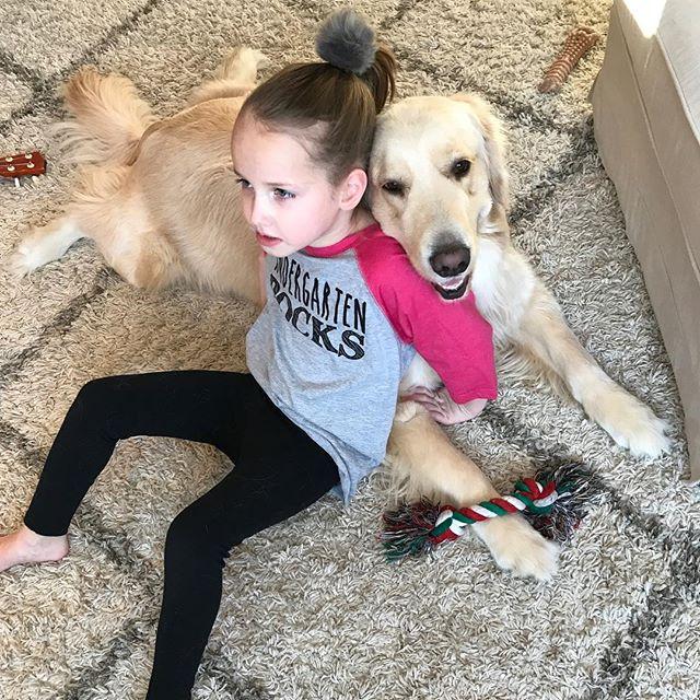 Always together! 🐶👱🏻♀️#servicedog #cutegene #goldenretriever #snowday #5q143deletion #mef2c