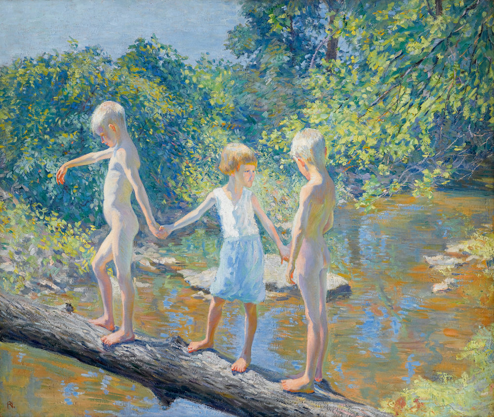 Three Children on a Fallen Log