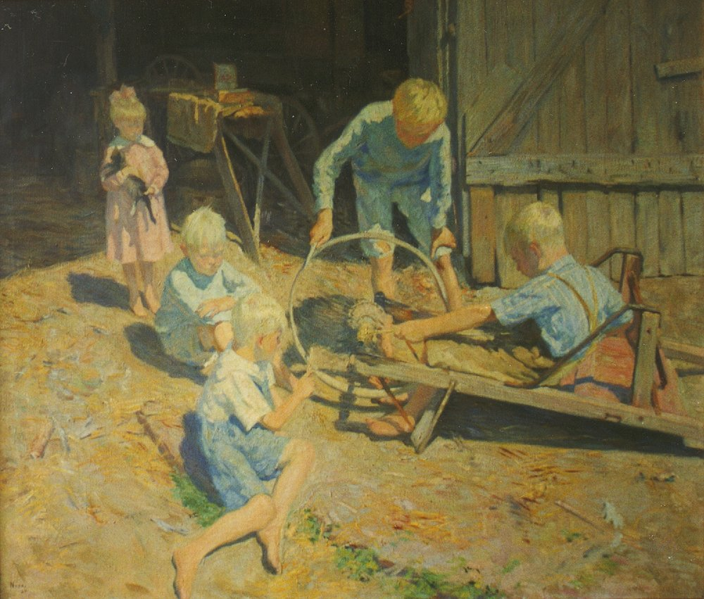 "Age of Speed, oil, 35 ¼"" x 40"", 1920"
