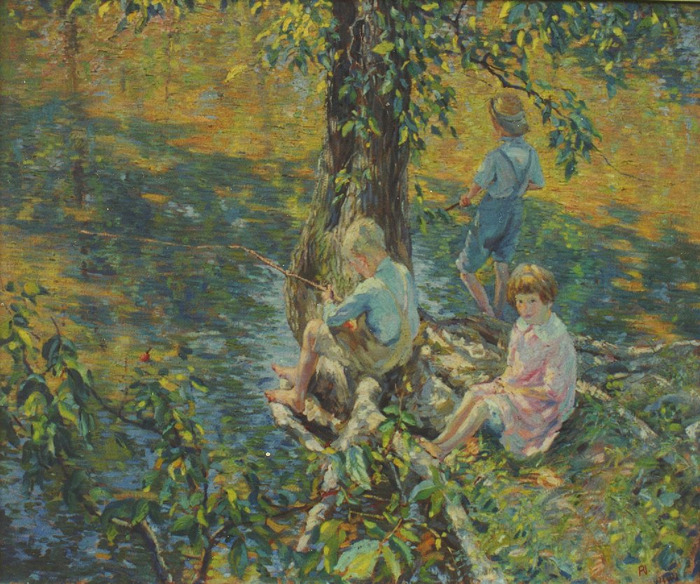 Three Children Fishing