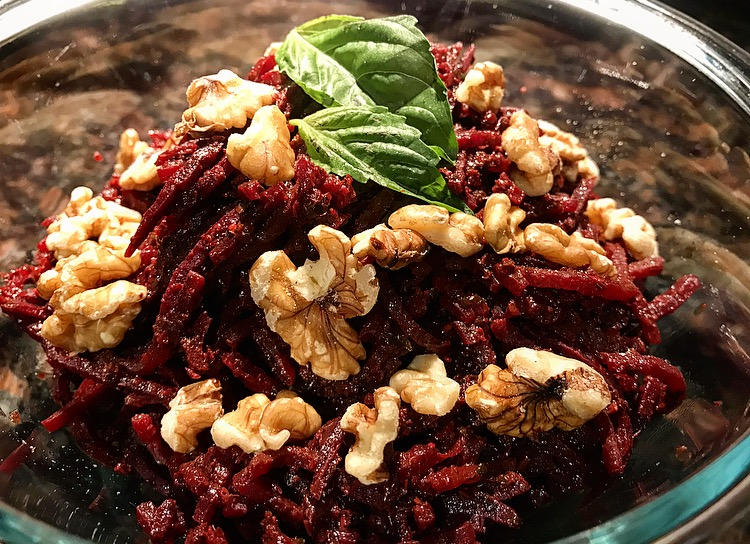 Spiralized Beets with Pesto & Walnuts