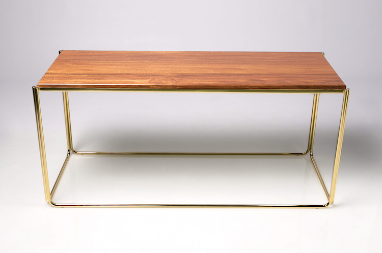 Small Coffee Table With Tali Wood Gold Finish Designer Side