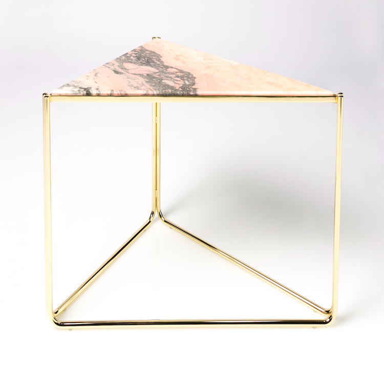 Designer Triangle Side Table With Portugal Rose Marble / Gold Finish Side