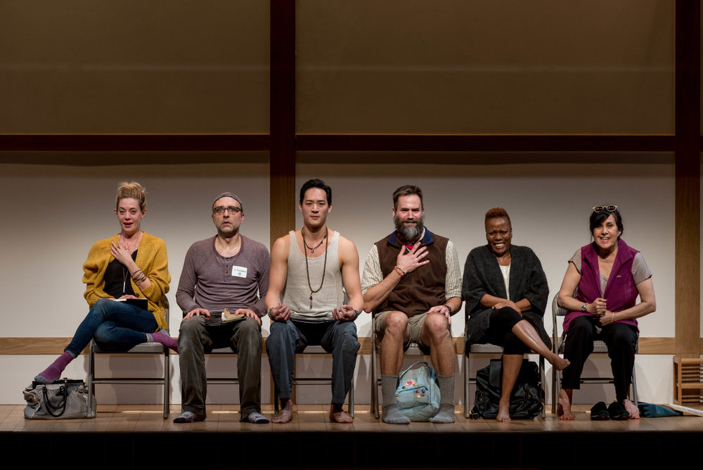 The Cast of  Small Mouth Sounds - left to right:Brenna Palughi (Alicia), Ben Beckley (Ned), Edward Chin-Lyn (Rodney), Connor Barrett (Jan), Cherene Snow (Judy), Socorro Santiago (Joan). Photo by Ben Gibbs