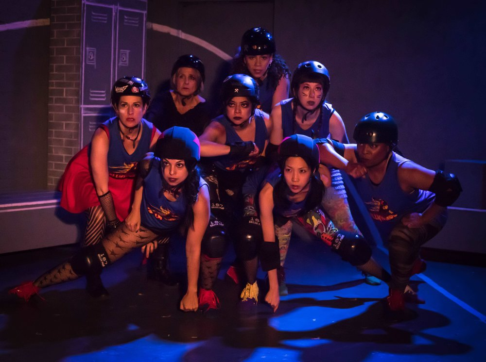 "The company stars in Theatre of NOTE's West Coast Premiere production of ""FOR THE LOVE OF (or the roller derby play) by Gina Femia, directed and choreographed by Rhonda Kohl and now playing at Theatre of NOTE in Hollywood. Photo by Darrett Sanders"