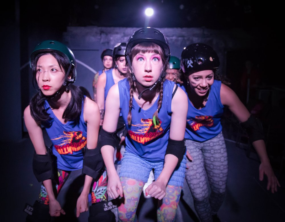 "Foreground - Jenny Soo, Liesel Hanson, Cassandra Blair (with the company) star in Theatre of NOTE's West Coast Premiere production of ""FOR THE LOVE OF (or the roller derby play) by Gina Femia, directed and choreographed by Rhonda Kohl and now playing at Theatre of NOTE in Hollywood. Photo by Darrett Sanders"