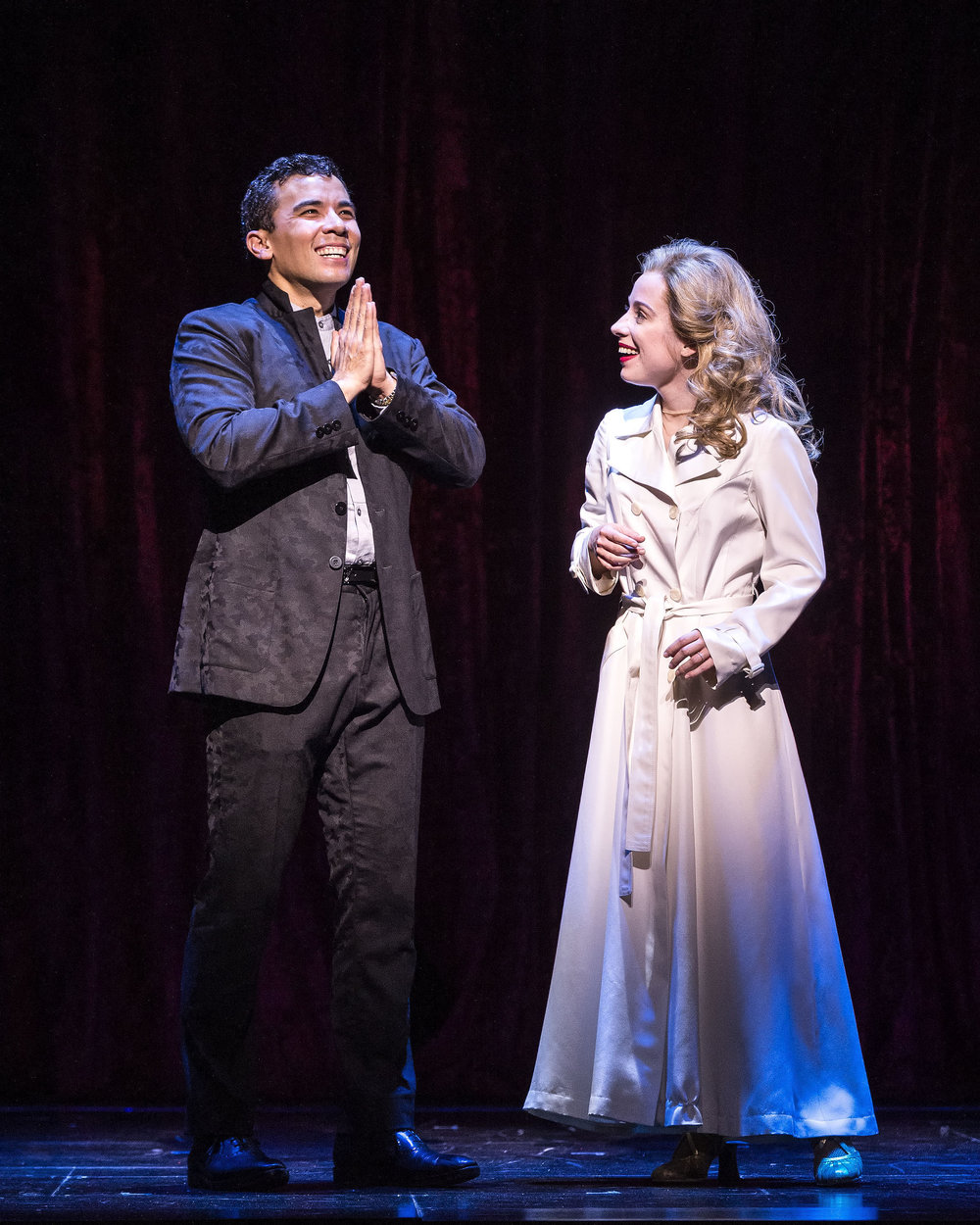 "Conrad Ricamora and Alyse Alan Louis in the world premiere of David Henry Hwang and Jeanine Tesori's ""Soft Power"" at Center Theatre Group/Ahmanson Theatre. Directed by Leigh Silverman and choreographed by Sam Pinkleton;"